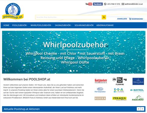 Website des Onlineshops www.poolshop.at